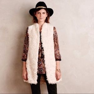 Hei Hei // Ivory Embroidered Teddy Fur Long Vest L
